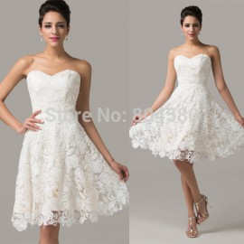 ReatilGrace Karin Strapless Knee Length Women Lace Evening Dress Short banquet Prom Dresses Sexy Ball Party Gown CL6126