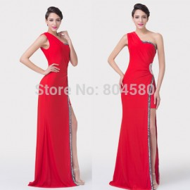 Red Carpet One Shoulder Floor Length Bandage dress Sleeveless Front Side Celebrity dresses Women Prom Evening Party Gown CL6275