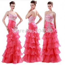 Retail GraceKarin Organza Strapless Mermaid Evening dresses Long Party Gown Formal Prom dress Ruffles Dance Celebrity Gowns 6073