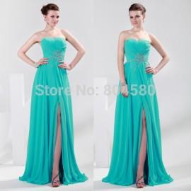 Retail/Wholesale - On Sale  Sexy Split Sleeveless Beaded Prom Dresses Formal Long Evening Dress Brand  CL4412