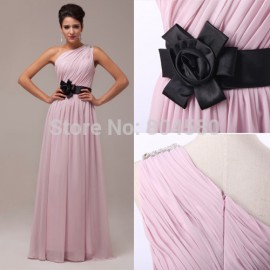 Retail/Wholesale  Fascinating Flower Waist One Shoulder Evening party Gown Floor Length Chiffon Prom dresses CL6016