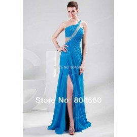 Retail/Wholesale Stock One shoulder Full Length Chiffon Women Party Gown Formal Long Prom dresses CL4947