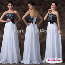 RetailWomen Fashion Sweetheart White Lace Applique Celebrity dress Long Chiffon evening dresses Formal Party Prom Gown CL6203