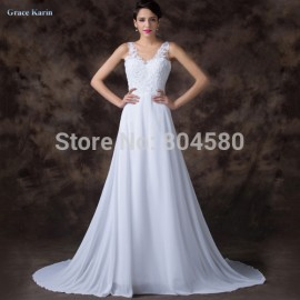 Sexy Double V Neck Pleated Embroidery Floor Length Chiffon Evening Dress White Long Prom Gown Formal Party dresses Women CL6252