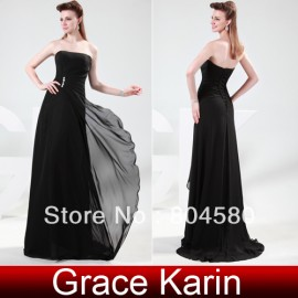 Sexy Ladies Black Celebrity Dresses Long Evening Party Chiffon Vintage Dress CL4430