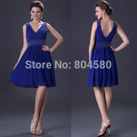 Sexy Sleeveless Knee Length Chiffon Blue/Purple Formal Prom Gown Short Evening Party dress  CL3137