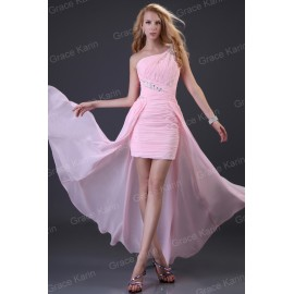 Sexy Stock One Shoulder Women Chiffon Pink Long prom Dresses Formal Celebrity dresses Sexy Evening Gown CL3828