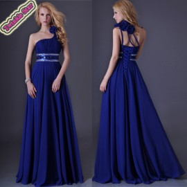 Sexy Stock One shoulder Chiffon Banquet Party Gown Birthday Prom Celebrity dresses Long Maxi Evening Dress  CL3516