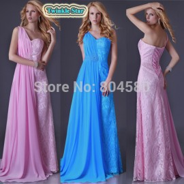 Sexy Stock One shoulder  Long Chiffon Formal Party Gown Lace Evening Dress Women Celebrity Red Carpet Prom Dresses CL3522
