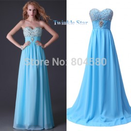 Sexy Women Floor Length Sleeveless Blue/Yellow Beads Chiffon Bandage Prom dresses Long Evening Party Dress Gown in Stock CL3524