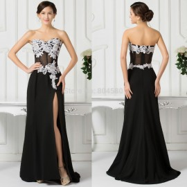 Sexy Strapless High Split Chiffon Prom Dress Party Evening Gown Black Long Celebrity dresses 2015 Formal Engagement Gowns CL7519