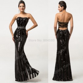 Sexy Summer Cool Design Black Backless Large Size Evening Dresses Bandage Long Prom Dress 2015 Formal Party Gown Women D7591