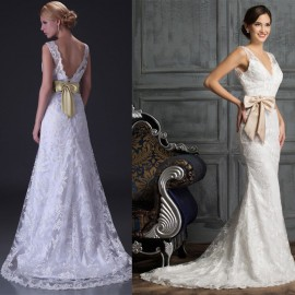 Sexy White Ivory Double V Neck Fashion Mermaid Lace Evening Dresses 2015 Formal Prom Gown Women Wedding Party Dress Train D3850