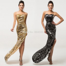 Sexy Women High Split Sequined Prom Gown Floor Length Formal Evening Dress Stones Cheap Bandage dresses Long Party Gowns D7589