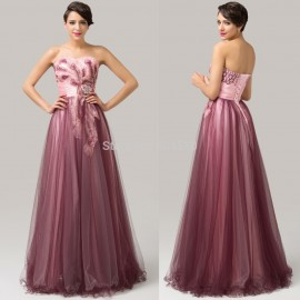 Sexy Women Summer Ball Gown Floor Length Strapless Appliques Long Evening dress Formal Party Gowns 2015 Cheap Prom dresses 6163