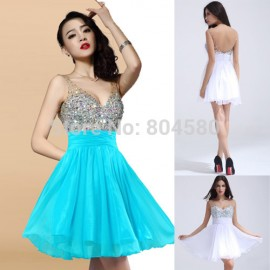 Special Design Grace Karin  Women Sexy Beaded Sleeveless Casual Party Gown Short Evening Prom dresses Mini Ball Dress CL7507