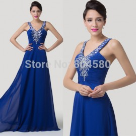 Stock Cheap Price   Runway Floor Length Crystal Long Evening Prom dresses Chiffon Celebrity Inspired Dresses  CL6197