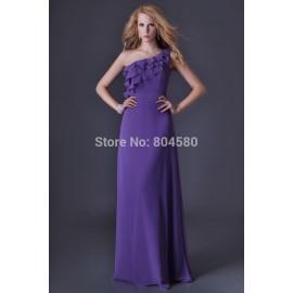 Stock One shoulder Purple evening dress Long Party Gown Formal Prom Dresses Graduation  CL3464