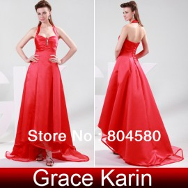 Stock Red halter Sweetheart Satin Floor Length Long Prom dresses Formal Evening Gown dress  CL4420