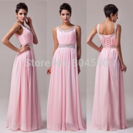 Stock U Neck Chiffon Floor Length Pink Celebrity Dresses Homecoming Party Gown Women Long Evening Dress CL6007