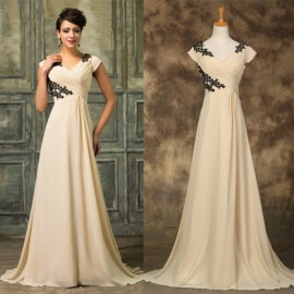 Summer Design V Neck A line Cheap China Apricot Prom dresses Short Sleeve Homecoming Formal Evening Gowns Dress Party CL7576