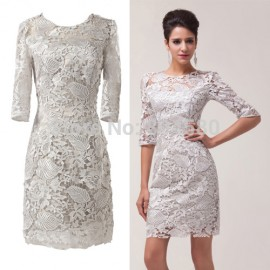 Top Quality  Stock Short Half Sleeve women Lace Ball Evening Prom Party Dress short 8 Size US 2~16 CL6032