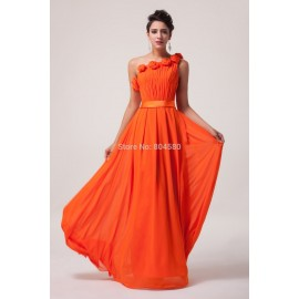 Top Quality Stock One shoulder Chiffon Prom Party Gown Flower Evening Dress Long CL6020