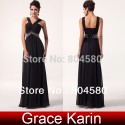 Top QualityFashion Floor Length Chiffon long Women Evening Party Dress Black Formal Gowns Prom CL6013
