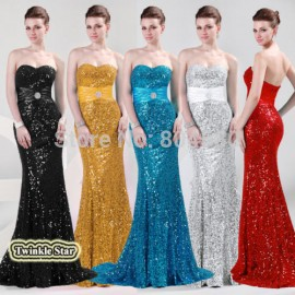 Top QualityStock Strapless Floor Length Long Bandage Dress Women Mermaid Evening Dresses Formal Prom Party Gown Sequins CL4409