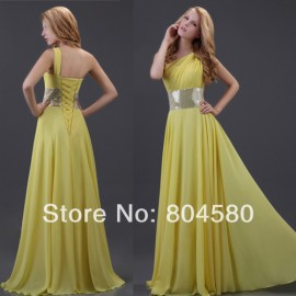 Top Selling Stock  Chiffon Yellow Long Evening Prom dresses One shoulder Beach maxi dress CL3419