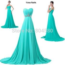 Turquoise ColorGrace Karin   Hot Sale Women Chiffon Red Carpet Dresses Off Shoulder Formal Occasion Evening dress CL6290