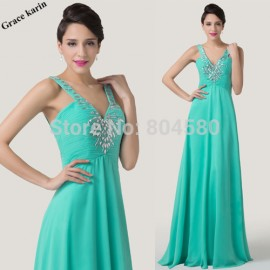 Turquoise Deep V Neck A Line Chiffon Formal Prom Gown Long  Floor Length Women Celebrity Evening Party dress Ball   CL6244
