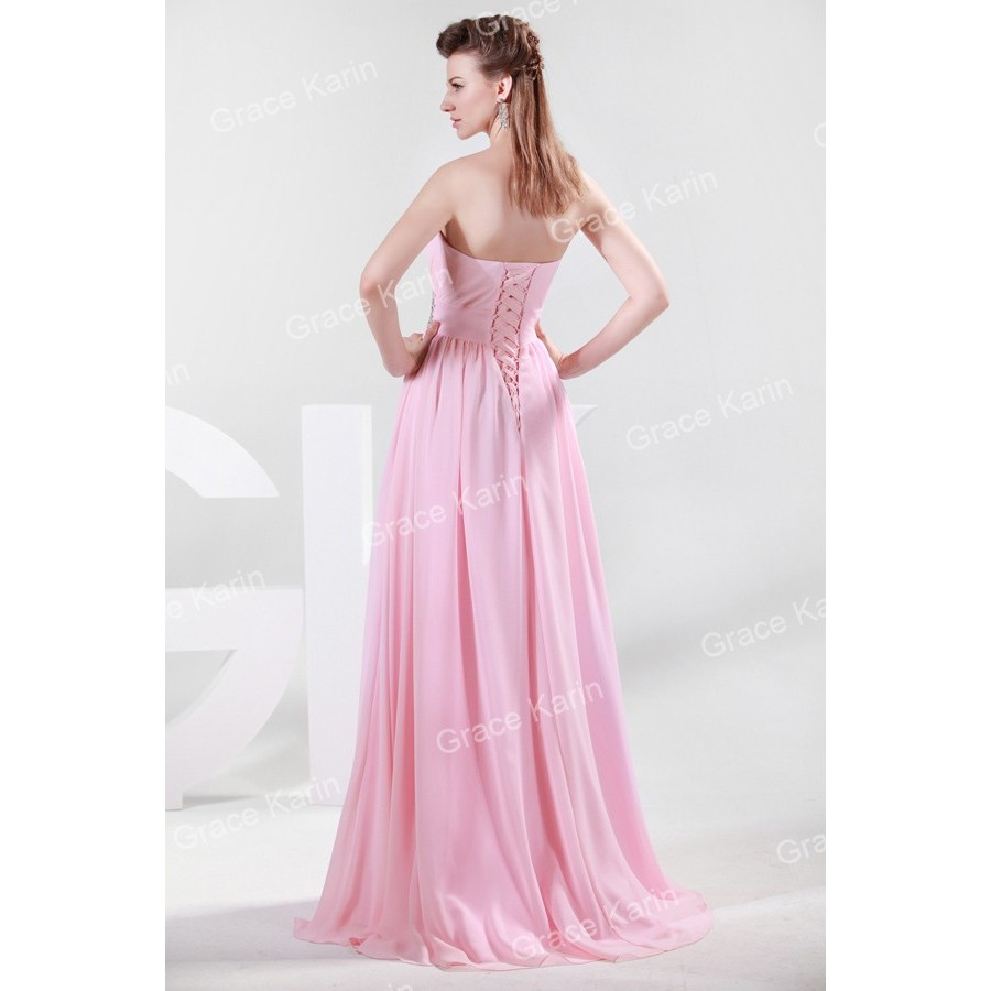 Unique Strapless Ruched Bust Slim Long Evening Dress Sleeveless Pink ...
