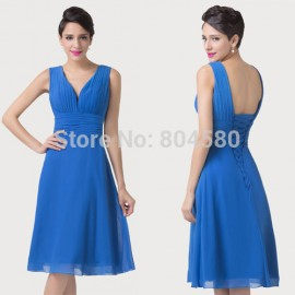 Vintage Style   Deep V neck Cap Sleeve Mother of the Bride dresses Short Chiffon Evening dress Women Party Gown CL6218