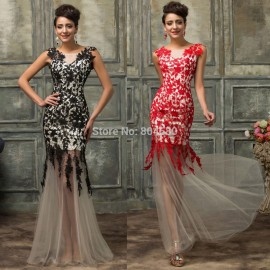 Western Style High Neck Black Red Mermaid Prom Dress Plus Size Lace Applique Evening Gown Long Party Celebrity dresses 2015 7588