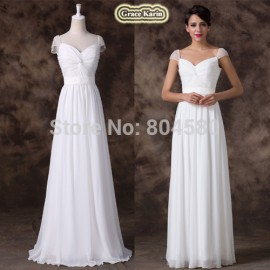 White Color Cap Sleeve A Line Floor Length Prom party Dress Formal Gowns Women Sexy Long Bridesmaid Dresses  Backless CL6174