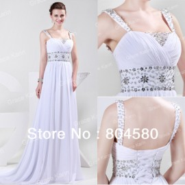 Wholasale/Retail Fashion Crystals Beaded Long Evening Dresses Sexy White Party Prom gown Dress CL4469