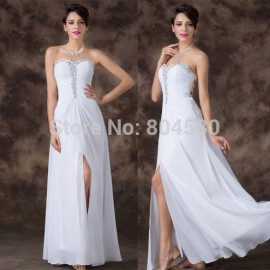 Wholesale  Fashion Long Design Split Lace Up Back Prom dress White Sweetheart Chiffon Celebrity dresses Special Events CL6236
