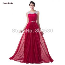Wholesale Red Color A Line Floor Length Long Maxi Celebrity dress Formal Evening Gown Women Dance Party Prom dresses CL6272
