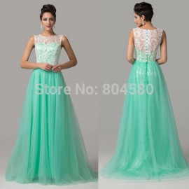 WholesaleGrace Karin Fashion Floor-length Sleeveless Green Lace evening dress Long party dresses Formal prom ball dress CL6108