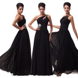 Wholesale New Arrival Sexy One Shoulder Black Prom dresses 2015 A Line Sleeveless Evening Dress for Party Special Occasion 6058