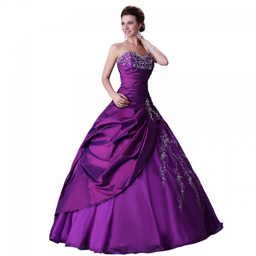 Royal fashion and elegant beading purple party gown long for Elegant ball gown wedding dresses