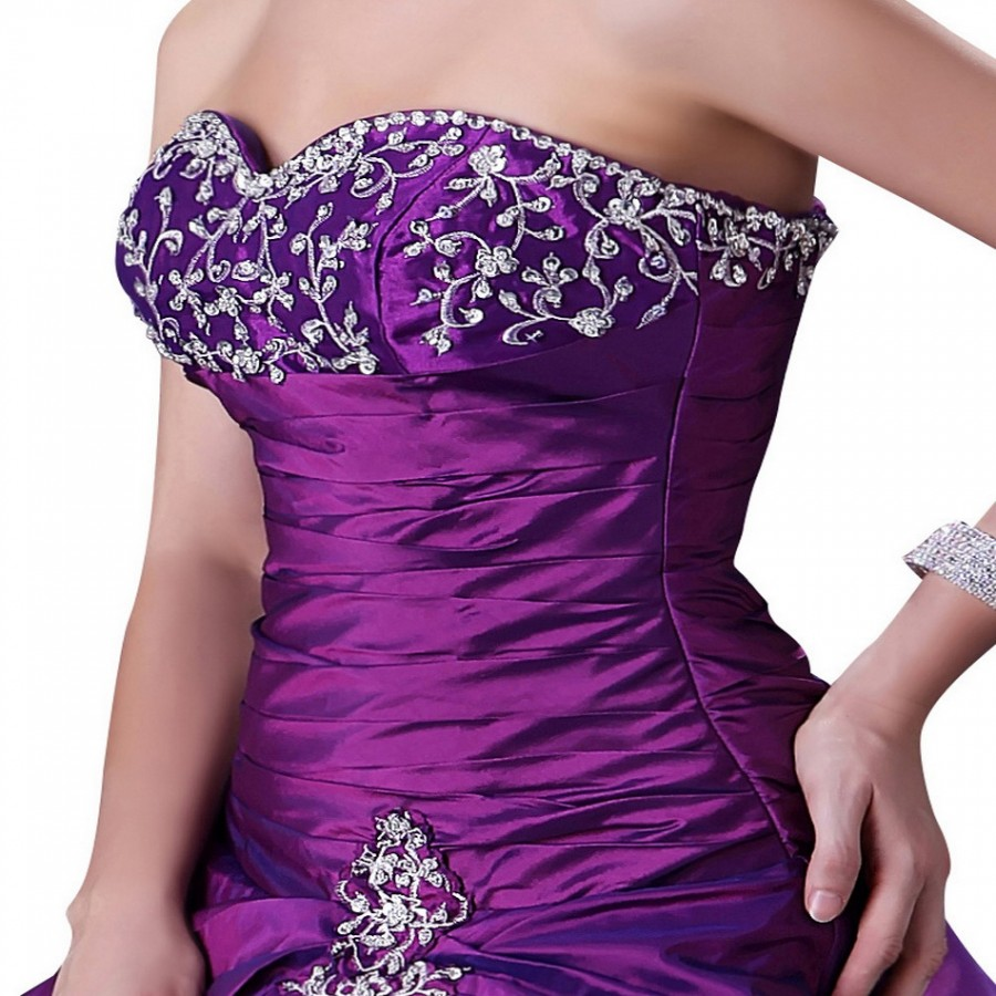 Royal fashion and elegant beading purple party gown long for Wedding dresses with purple trim