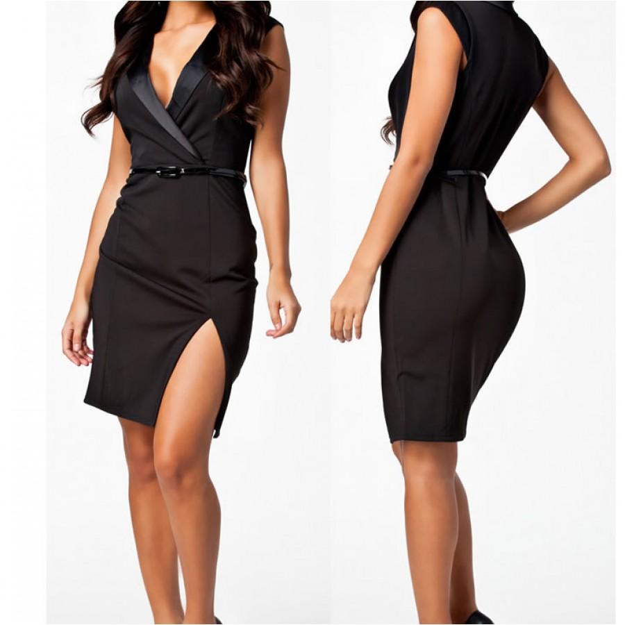 fashion women black notched neckline ol elegant career dress women work wear casual dress with. Black Bedroom Furniture Sets. Home Design Ideas
