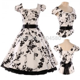 Stock Cap Sleeve Cotton Retro Vintage Ball Evening Prom Party Dress Women 50s 60s Black Print Rockability Gown CL4598