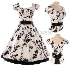 Stock Cap Sleeve Cotton Retro Vintage Ball Evening Prom Party Dress Women 50s 60s Black Print Rockability Gown CL4598