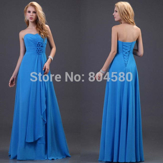 Stock Off the Shoulder Empire A-Line Floor-Length Chiffon Prom dress Formal Gowns Blue Bridesmaid dresses CL3420