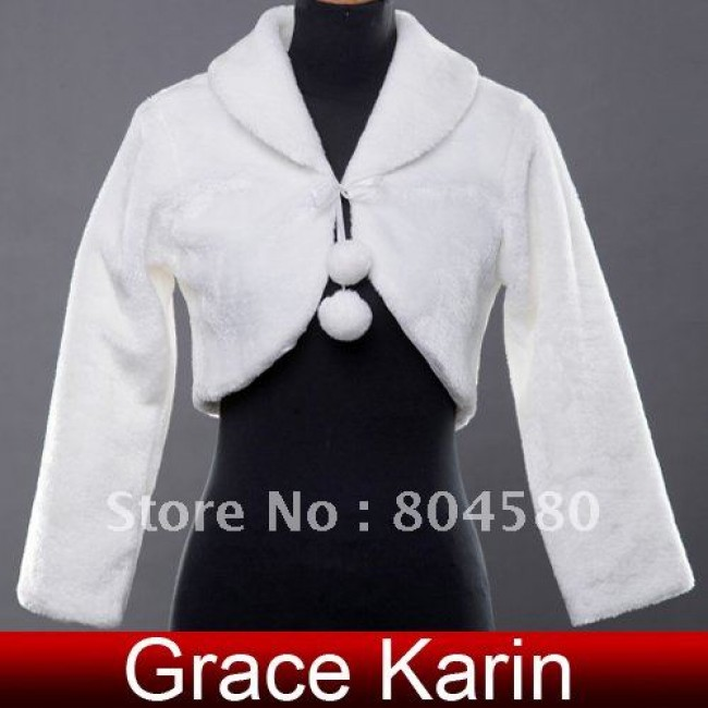 GK Faux Fur Wedding Bridal Wrap Shawl Jacket Coat Bolero for party CL2617