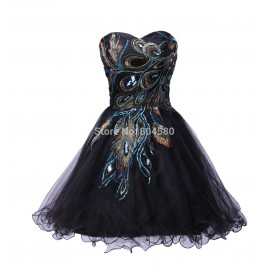 Sexy Tulle Ball Gown Distinctive Embroidery Peacock Pattern Black Party Gown Short Cocktail Dresses CL4975