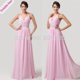 Cheap Sexy Deep V neck Floor Length Lace Up Back Bridesmaid Dresses Beads Long Bridal Toast dress  CL6111